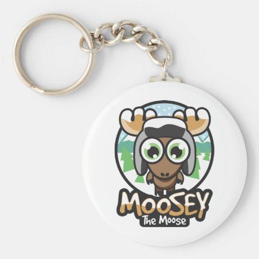 moosey winter basic round button keychain