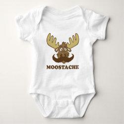 Baby Jersey Bodysuit with Moose + Mustache = Moostache design