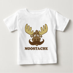 Baby Fine Jersey T-Shirt with Moose + Mustache = Moostache design