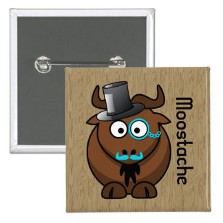 Moostache Pinback Button