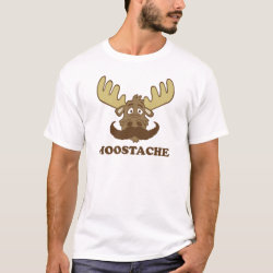 Men's Basic T-Shirt with Moose + Mustache = Moostache design