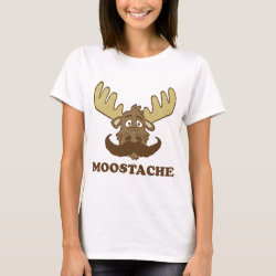 Women's Basic T-Shirt with Moose + Mustache = Moostache design