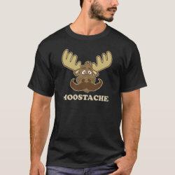 Men's Basic Dark T-Shirt with Moose + Mustache = Moostache design