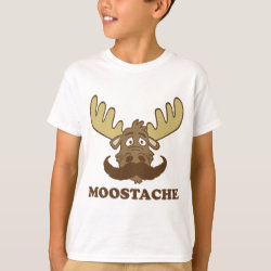 Kids' Hanes TAGLESS® T-Shirt with Moose + Mustache = Moostache design