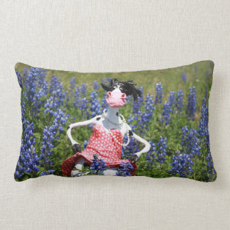 Mootilda the cow roams in the bluebonnets. lumbar pillow