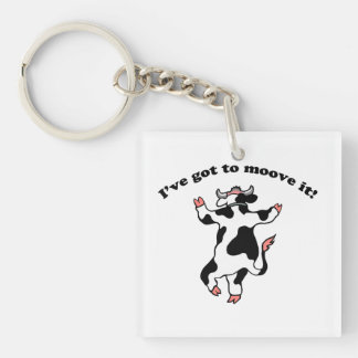 Moove It Single-Sided Square Acrylic Keychain