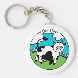 Moove Over Basic Round Button Keychain