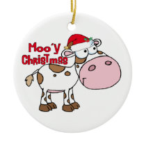 Mooy Christmas Cow Ceramic Ornament