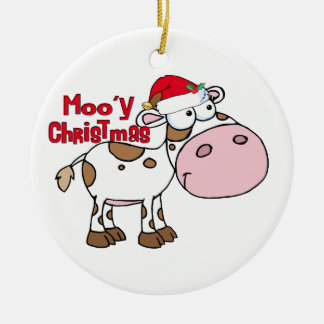 Mooy Christmas Cow Ceramic Ornament
