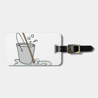Mop and bucket of soapy water bag tag