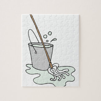 Mop and bucket of soapy water jigsaw puzzle