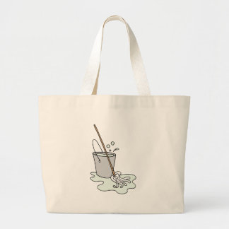 Mop and bucket of soapy water large tote bag