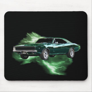 Mopar: '68 Dodge Charger with green lightning Mouse Pad