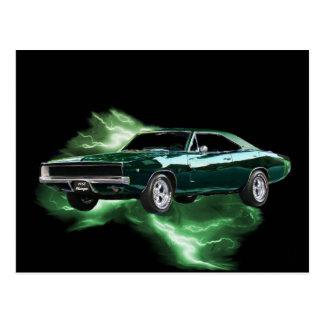 Mopar: '68 Dodge Charger with green lightning Postcard