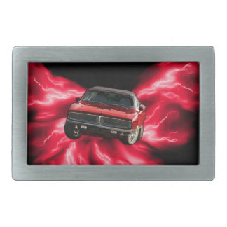 Mopar: '69 Charger on red lightning Rectangular Belt Buckle