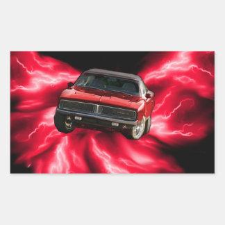 Mopar 69 Charger on red lightning Sticker