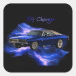 Mopar:  'Cargador de 69 Dodge Calcomanía Cuadrada Personalizada