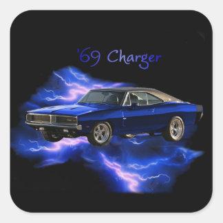 Mopar:  'Cargador de 69 Dodge Pegatina Cuadrada