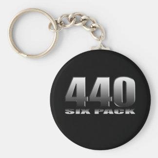 Mopar Dodge 440 seis paquetes Llavero Redondo Tipo Pin