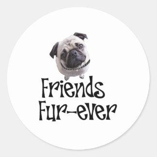"""Mops """"Friends Fur-ever"""" Classic Round Sticker"""