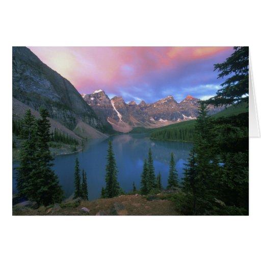 Moraine en el amanecer, Banff de Canadá, Alberta,  Tarjeton