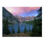 Moraine en el amanecer, Banff de Canadá, Alberta, Tarjeta Postal