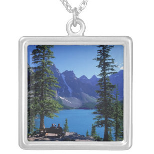 Moraine Lake, Banff, Alberta, Canada Silver Plated Necklace