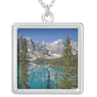 Moraine Lake, Canadian Rockies, Alberta, Canada 2 Silver Plated Necklace