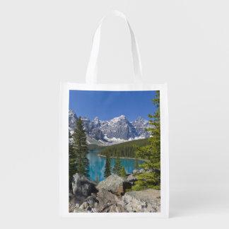 Moraine Lake, Canadian Rockies, Alberta, Canada Grocery Bags