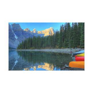 Moraine Lake with Canoes, Canadian Rockies Canvas