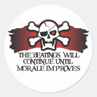 Moral del pirata pegatina redonda