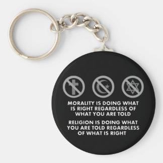 Moralidad y religión llavero redondo tipo pin