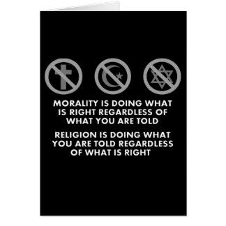 Moralidad y religión tarjeta de felicitación