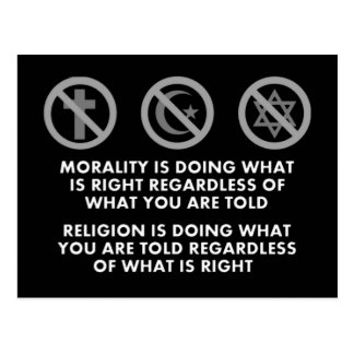 Moralidad y religión tarjeta postal