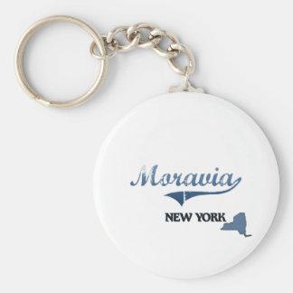 Moravia New York City Classic Basic Round Button Keychain