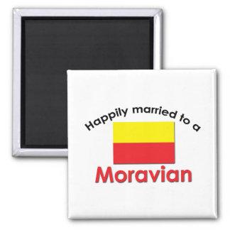 Moravian feliz casado imán cuadrado
