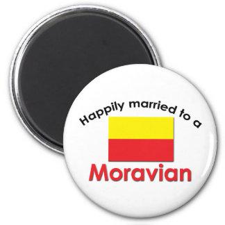 Moravian feliz casado imán redondo 5 cm