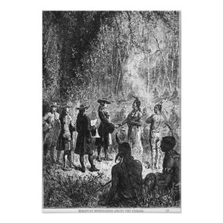 Moravian Missionaries Among the Indians Poster