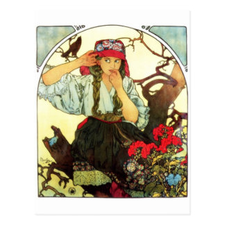 Moravian Teachers Club Mucha vintage postcard