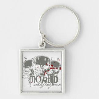 Morbid Silver-Colored Square Keychain