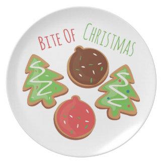 Mordedura del navidad platos para fiestas