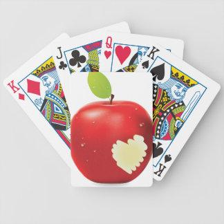 Mordedura roja de la manzana cartas de juego