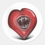 Mordeduras de amor etiquetas redondas