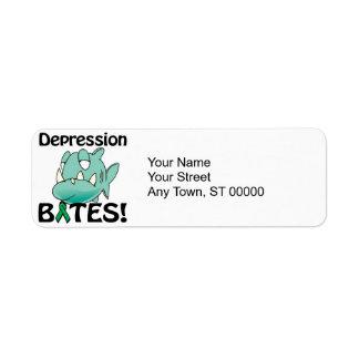 MORDEDURAS de la depresión Etiquetas De Remite