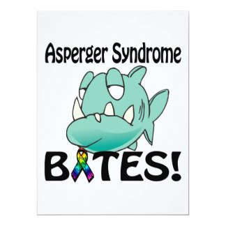 MORDEDURAS del síndrome de Asperger Invitación 16,5 X 22,2 Cm