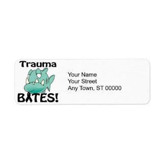 MORDEDURAS del trauma Etiqueta De Remite