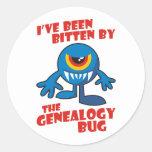 Mordido por el insecto de la genealogía etiquetas redondas