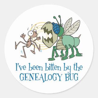 Mordido por el insecto de la genealogía pegatina redonda