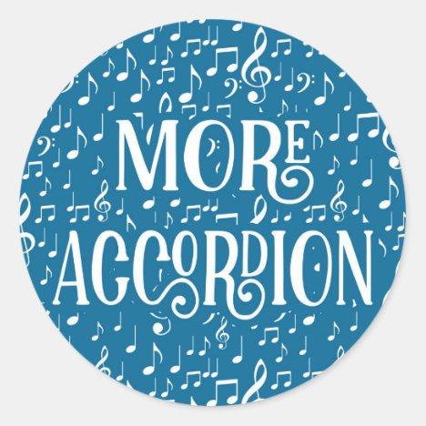 More Accordion - Blue White Music Classic Round Sticker