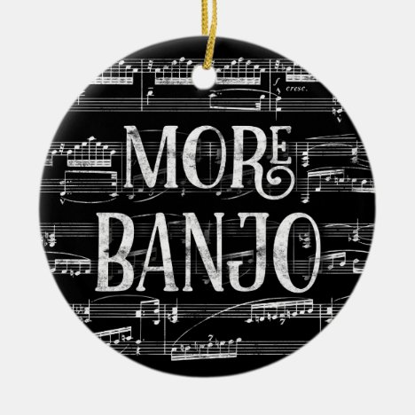 More Banjo Chalkboard - Black White Music Ceramic Ornament
